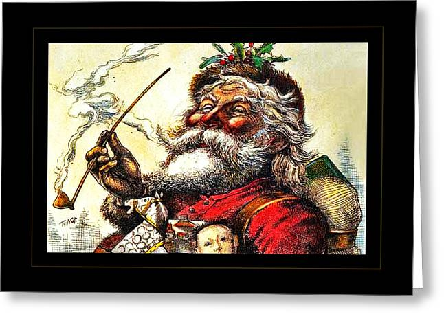 Old Saint Nick Greeting Cards - 1881 Santa Greeting Card by John Stephens