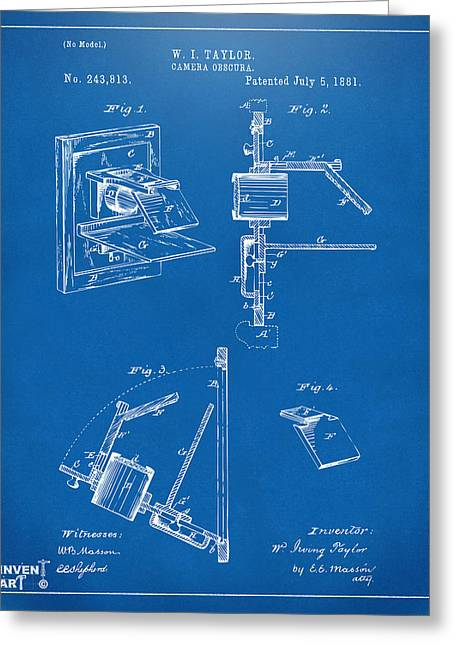 Philosopher Greeting Cards - 1881 Taylor Camera Obscura Patent Blueprint Greeting Card by Nikki Marie Smith