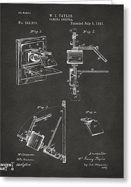 Philosopher Greeting Cards - 1881 Taylor Camera Obscura Patent Gray Greeting Card by Nikki Marie Smith