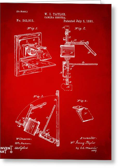 Philosopher Greeting Cards - 1881 Taylor Camera Obscura Patent Red Greeting Card by Nikki Marie Smith