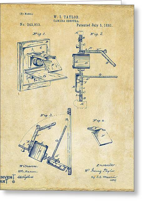 Camera Greeting Cards - 1881 Taylor Camera Obscura Patent Vintage Greeting Card by Nikki Marie Smith