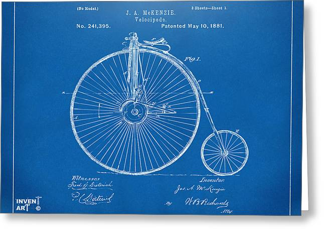 Vintage Bicycle Greeting Cards - 1881 Velocipede Bicycle Patent Artwork - Blueprint Greeting Card by Nikki Marie Smith