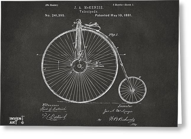 Vintage Bicycle Greeting Cards - 1881 Velocipede Bicycle Patent Artwork - Gray Greeting Card by Nikki Marie Smith