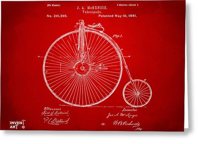 Vintage Bicycle Greeting Cards - 1881 Velocipede Bicycle Patent Artwork - Red Greeting Card by Nikki Marie Smith