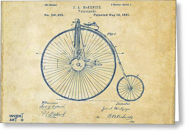 Blue Bike Greeting Cards - 1881 Velocipede Bicycle Patent Artwork - Vintage Greeting Card by Nikki Marie Smith