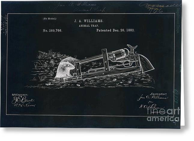 1882 Greeting Cards - 1882 Animal Trap Patent Drawing Blue Greeting Card by Jon Neidert