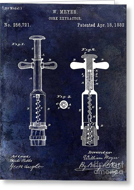 Napa Greeting Cards - 1882 Corkscrew Patent Drawing Greeting Card by Jon Neidert