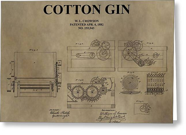 Slavery Greeting Cards - 1882 Cotton Gin Patent Greeting Card by Dan Sproul