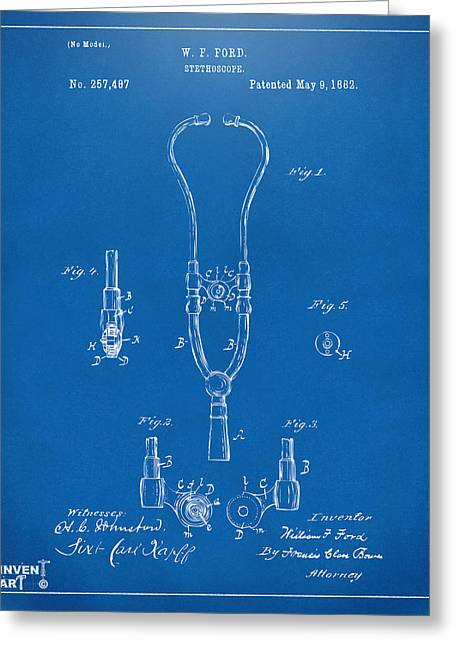 Stethoscope Greeting Cards - 1882 Doctor Stethoscope Patent - Blueprint Greeting Card by Nikki Marie Smith