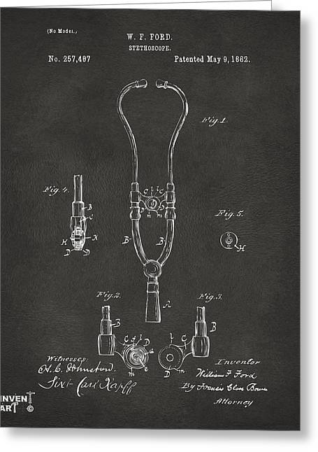 Stethoscope Greeting Cards - 1882 Doctor Stethoscope Patent - Gray Greeting Card by Nikki Marie Smith