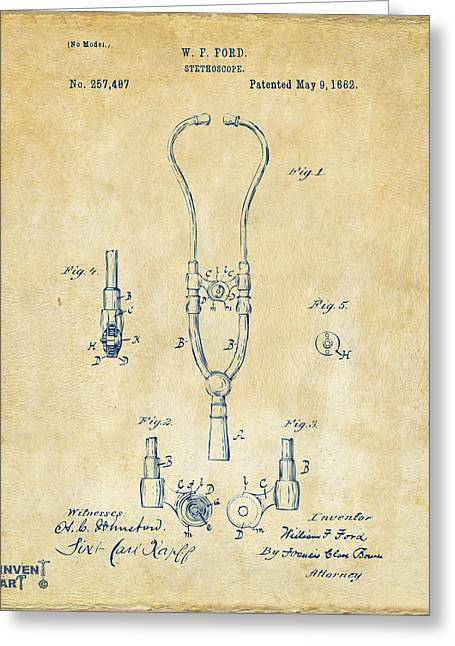 Practiced Greeting Cards - 1882 Doctor Stethoscope Patent - Vintage Greeting Card by Nikki Marie Smith