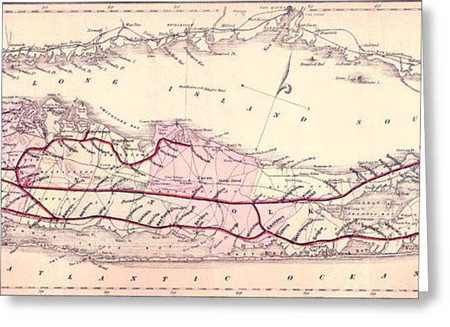 1882 Greeting Cards - 1882 Long Island Railroad Map Greeting Card by Jon Neidert