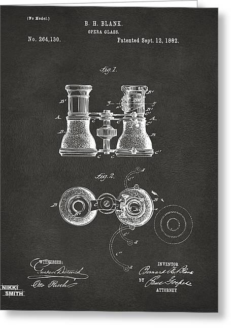 1800s Greeting Cards - 1882 Opera Glass Patent Artwork - Gray Greeting Card by Nikki Marie Smith