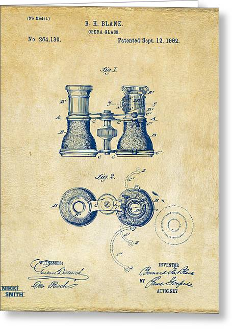 1800s Greeting Cards - 1882 Opera Glass Patent Artwork - Vintage Greeting Card by Nikki Marie Smith