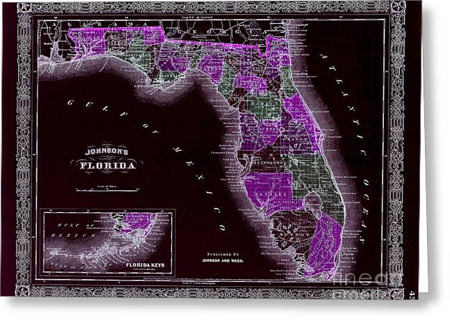 Fort Lauderdale Greeting Cards - 1883 Florida Map Black Greeting Card by Jon Neidert