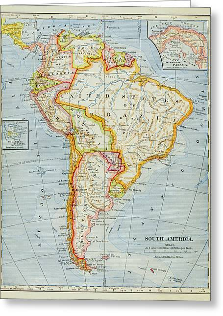 Guyana Greeting Cards - 1883 South America Map Greeting Card by Benoit Beauregard
