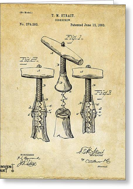Wine Cork Greeting Cards - 1883 Wine Corckscrew Patent Art - Vintage Black Greeting Card by Nikki Marie Smith