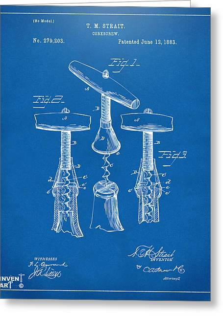 Drinkers Greeting Cards - 1883 Wine Corckscrew Patent Artwork - Blueprint Greeting Card by Nikki Marie Smith