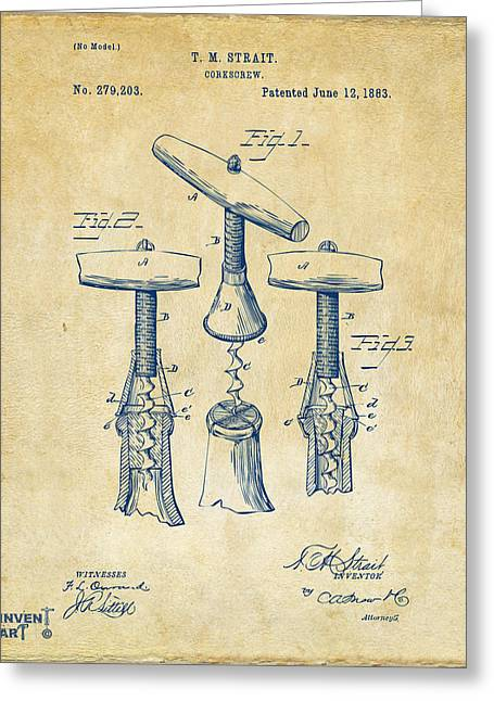 Wine Cork Greeting Cards - 1883 Wine Corckscrew Patent Artwork - Vintage Greeting Card by Nikki Marie Smith