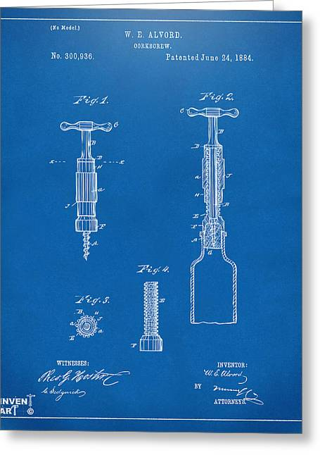 Drinkers Greeting Cards - 1884 Corkscrew Patent Artwork - Blueprint Greeting Card by Nikki Marie Smith