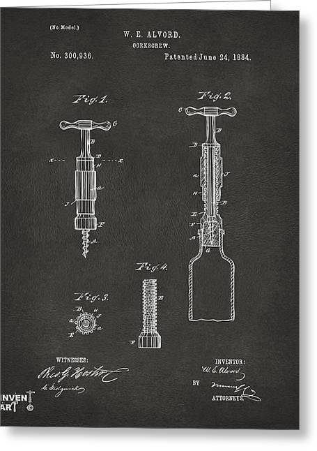 Drinkers Greeting Cards - 1884 Corkscrew Patent Artwork - Gray Greeting Card by Nikki Marie Smith