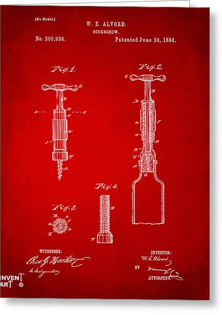 1884 Corkscrew Patent Artwork - Red Greeting Card by Nikki Marie Smith