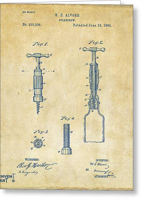 Drinkers Greeting Cards - 1884 Corkscrew Patent Artwork - Vintage Greeting Card by Nikki Marie Smith