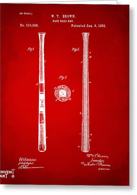 Baseball Game Greeting Cards - 1885 Baseball Bat Patent Artwork - Red Greeting Card by Nikki Marie Smith