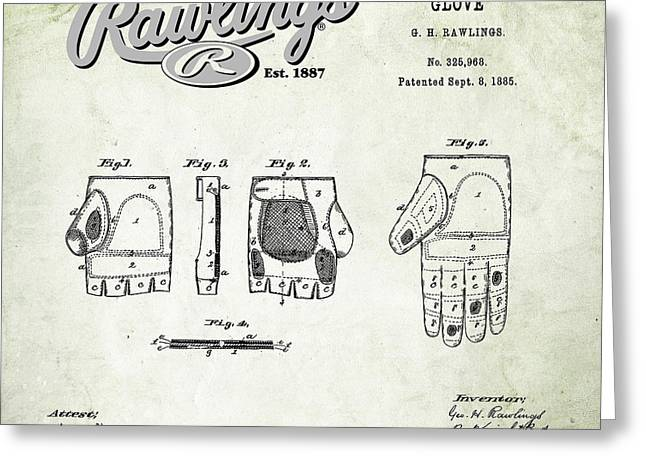 Baseball Glove Greeting Cards - 1885 Baseball Glove Patent Art Rawlings 1 Greeting Card by Nishanth Gopinathan