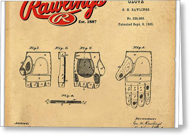 Rawlings Greeting Cards - 1885 Baseball Glove Patent Art Rawlings 2 Greeting Card by Nishanth Gopinathan