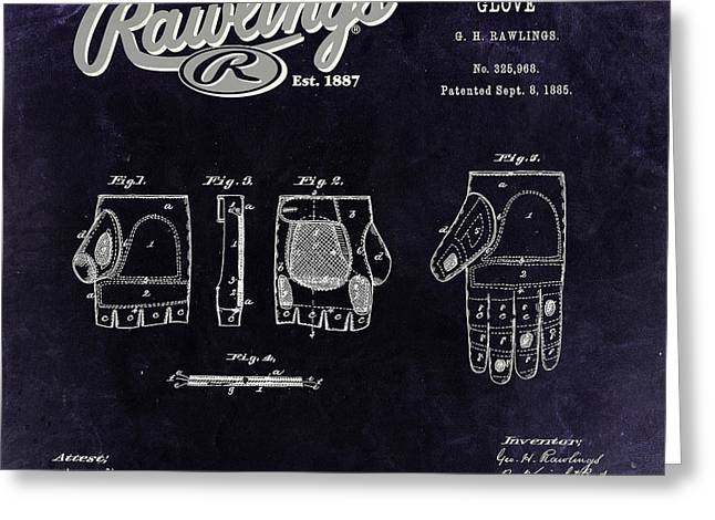 Baseball Glove Greeting Cards - 1885 Baseball Glove Patent Art Rawlings 3 Greeting Card by Nishanth Gopinathan