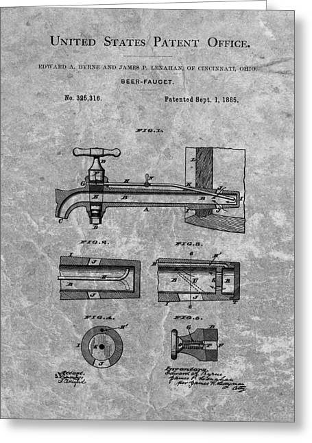 Bartender Drawings Greeting Cards - 1885 Beer Tap Patent Charcoal Greeting Card by Dan Sproul