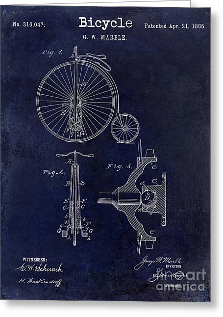 Vintage Bicycle Photographs Greeting Cards - 1885 Bicycle Patent Drawing Blue Greeting Card by Jon Neidert