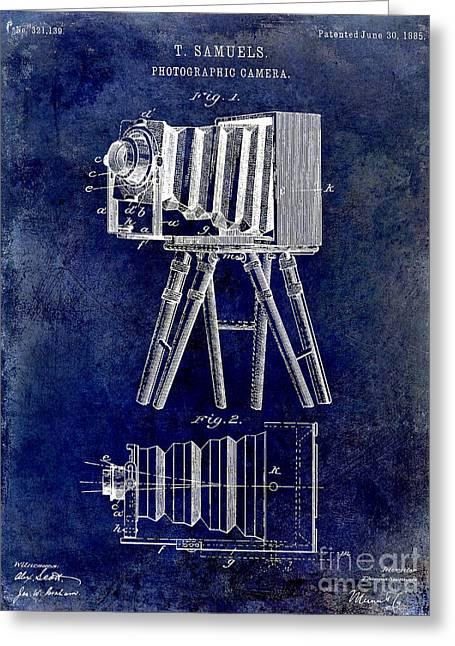 Camera Greeting Cards - 1885 Camera Patent Drawing Blue Greeting Card by Jon Neidert
