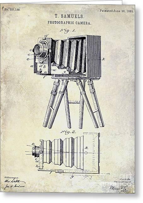 Camera Greeting Cards - 1885 Camera Patent Drawing  Greeting Card by Jon Neidert