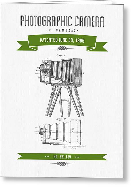 Camera Greeting Cards - 1885 Photographic Camera Patent Drawing - Retro Green Greeting Card by Aged Pixel
