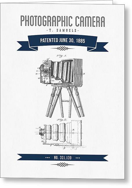 Camera Greeting Cards - 1885 Photographic Camera Patent Drawing - Retro Navy Blue Greeting Card by Aged Pixel