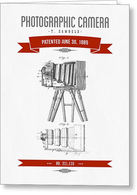 Camera Greeting Cards - 1885 Photographic Camera Patent Drawing - Retro Red Greeting Card by Aged Pixel