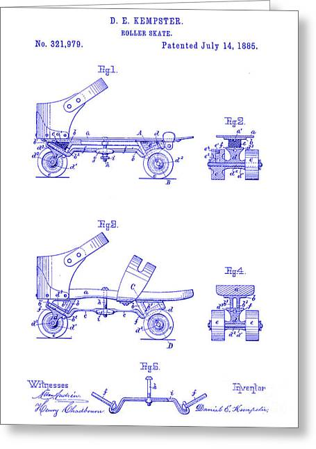 Roller Skates Greeting Cards - 1885 Roller Skate Patent Blueprint Greeting Card by Jon Neidert