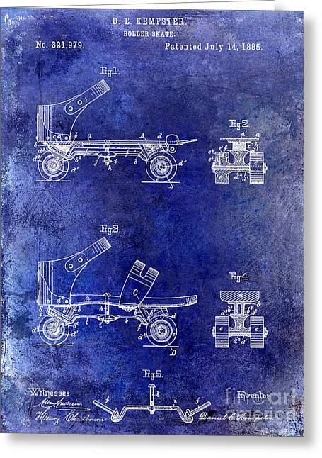 Roller Skates Greeting Cards - 1885 Roller Skate Patent Drawing Blue Greeting Card by Jon Neidert