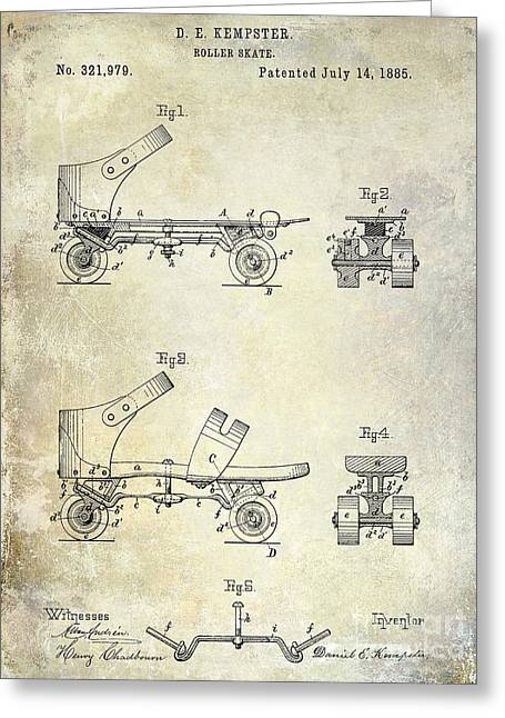 Old Skates Drawings Greeting Cards - 1885 Roller Skate Patent Drawing Greeting Card by Jon Neidert