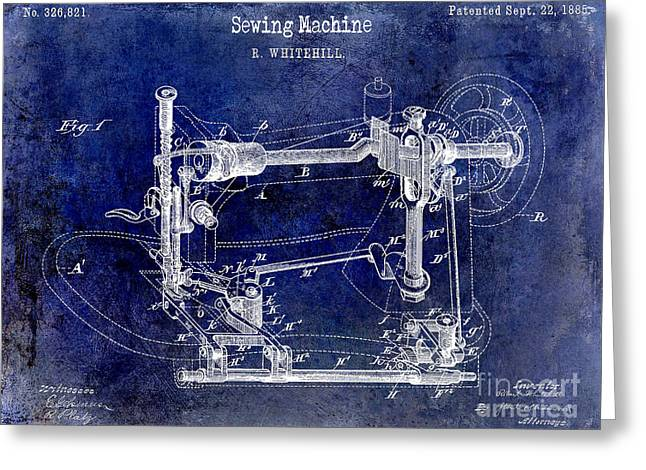 1885 Sewing Machine Patent Drawing Blue Greeting Card by Jon Neidert