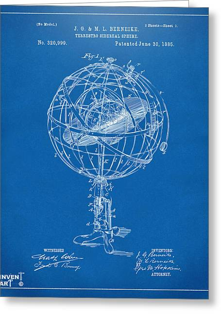 Star Chart Greeting Cards - 1885 Terrestro Sidereal Sphere Patent Artwork - Blueprint Greeting Card by Nikki Marie Smith