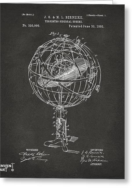 Star Chart Greeting Cards - 1885 Terrestro Sidereal Sphere Patent Artwork - Gray Greeting Card by Nikki Marie Smith