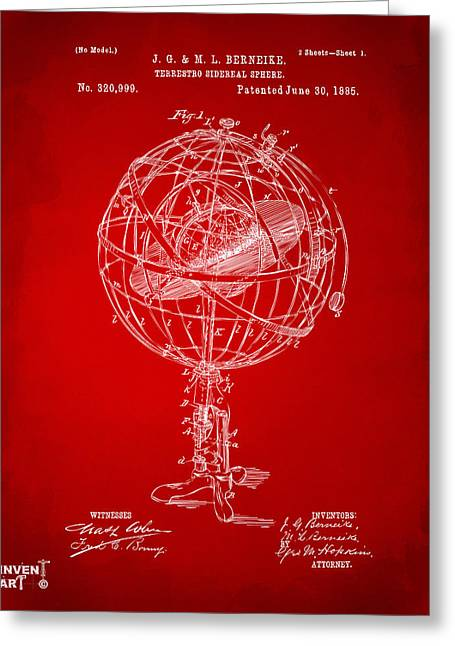 Star Chart Greeting Cards - 1885 Terrestro Sidereal Sphere Patent Artwork - Red Greeting Card by Nikki Marie Smith