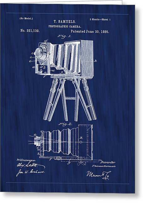 Aperture Greeting Cards - 1885 View Camera Patent Art-Blue Greeting Card by Barry Jones