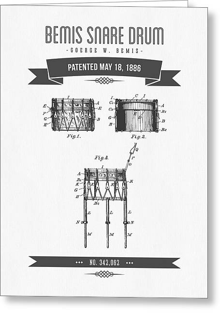 1886 Bemis Snare Drum Patent Drawing Greeting Card by Aged Pixel