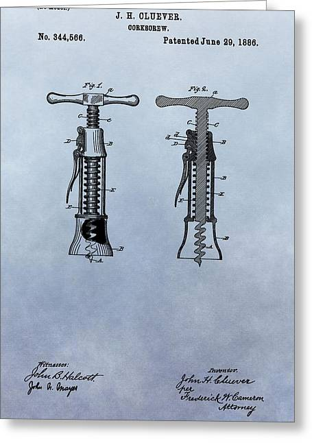 French Wine Bottles Mixed Media Greeting Cards - 1886 Corkscrew Patent Greeting Card by Dan Sproul