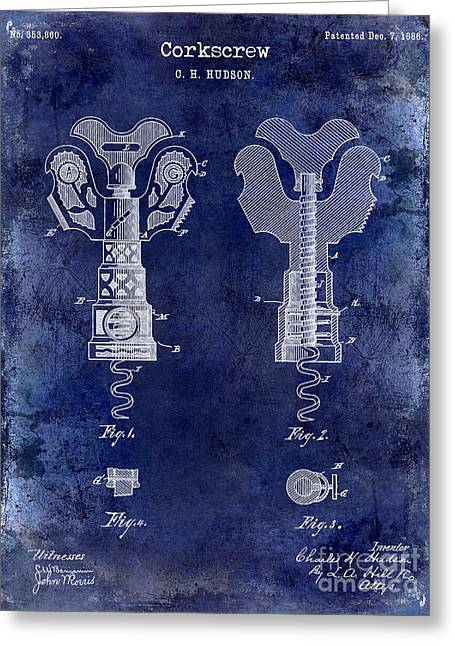 Cocktails Greeting Cards - 1886 Corkscrew Patent Drawing Blue Greeting Card by Jon Neidert