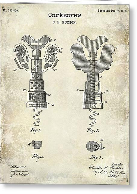 Napa Greeting Cards - 1886 Corkscrew Patent Drawing Greeting Card by Jon Neidert
